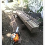chainsaw milling - cut #2 finished - drawknife